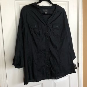 Lane Bryant Black 2/Pocket Button Front Blouse
